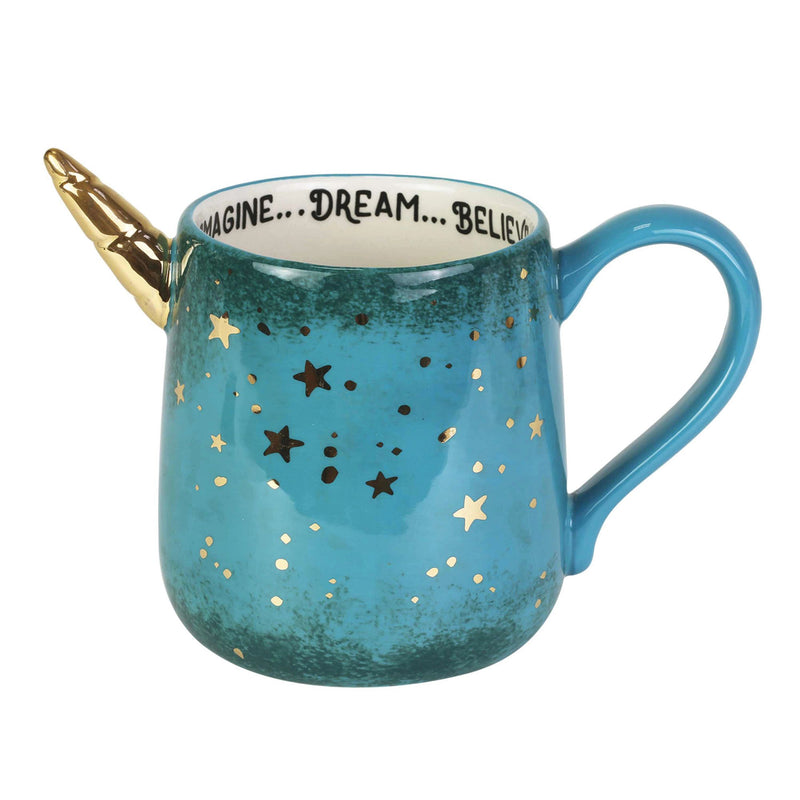 Gold Star Unicorn Sculpt Mug