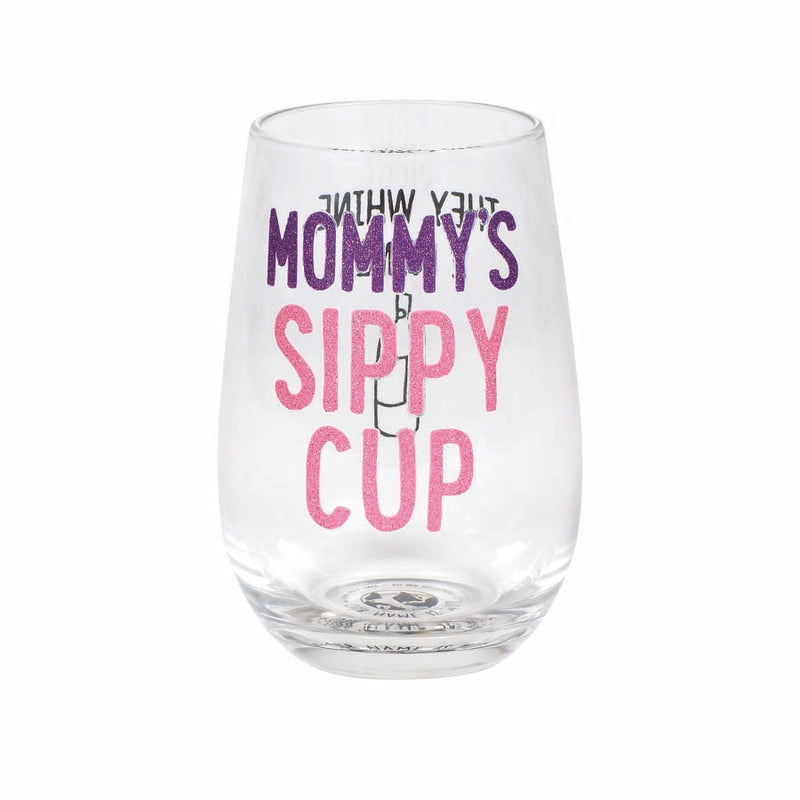 Mommy Sippy Cup Stemless Glass