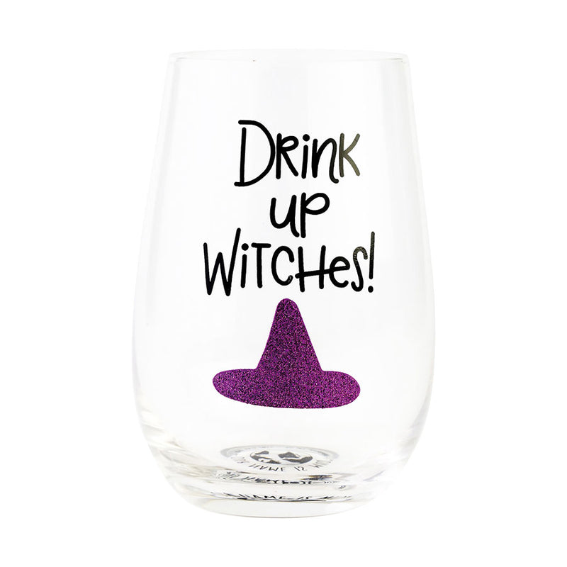 DRINK UP WITCHES GLITTER GLASS