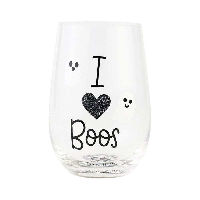 I HEART BOOS GLITTER GLASS