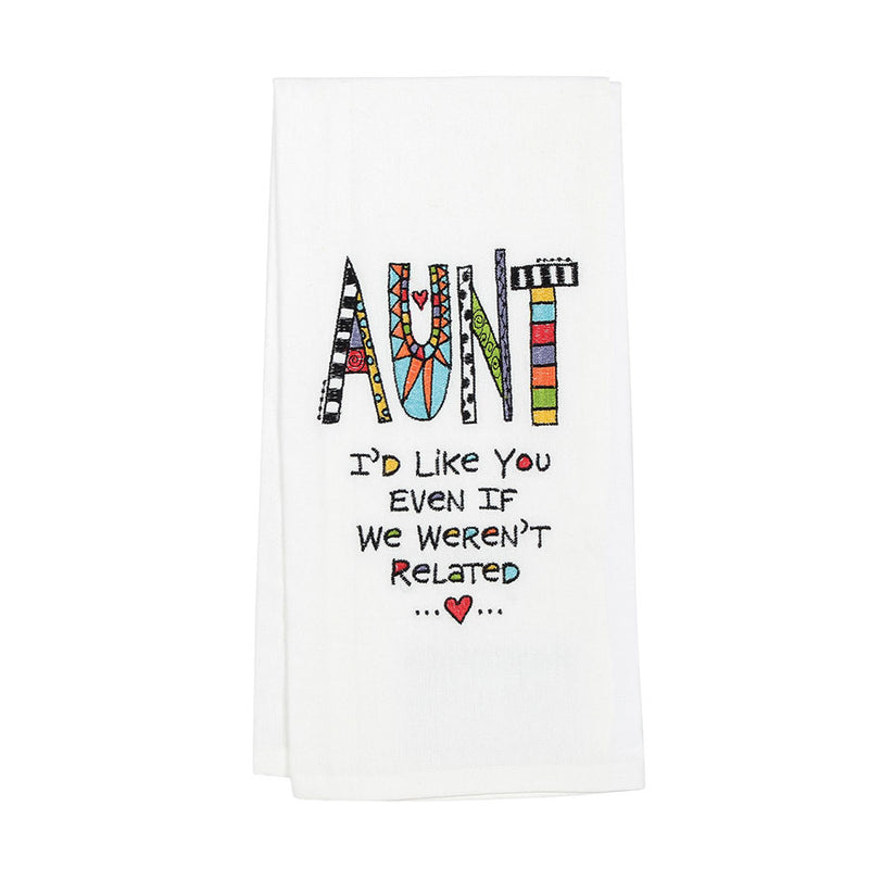 Embroidered  Aunt Tea Towel