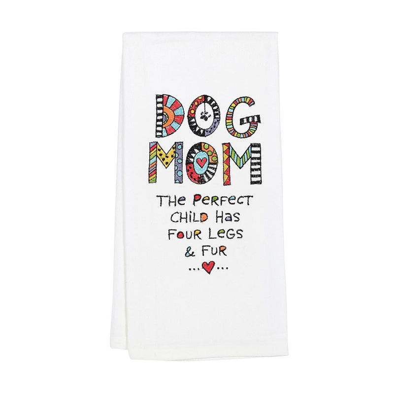 Embroidered  Dog Mom Tea Towel