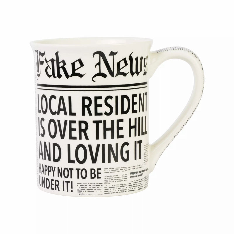 Fake News Over the Hill Mug