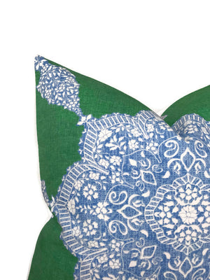 Medallion Pillow Cover in Blue and Green