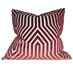Ready to Ship, 20x20, Vanderbilt Velvet Pillow Cover in Garnet Red