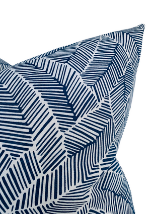 Schumacher Abstract Leaf Pillow Cover in Navy