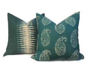 Peter Dunham Kashmir Paisley Pillow Cover in Peacock
