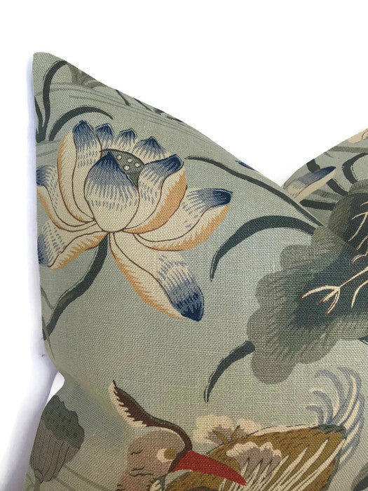 Schumacher Lotus Garden Pillow Cover in Aqua