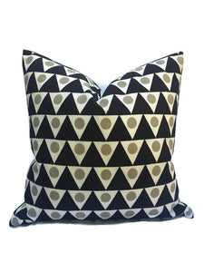 Schumacher Pennant II Pillow Cover in Sand and Black