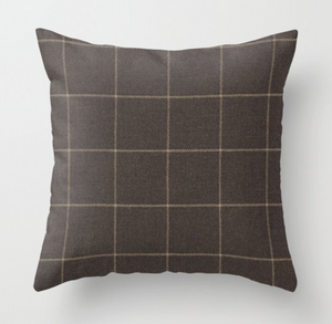 Schumacher Bancroft Wool Pillow Cover in Sable Brown