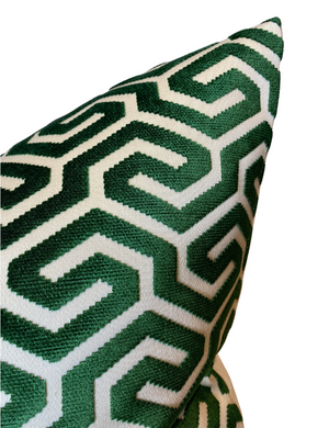 Schumacher Ming Fret Pillow Cover in Emerald