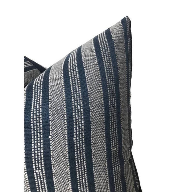 Peter Dunham Amida Pillow Cover in White on Indigo
