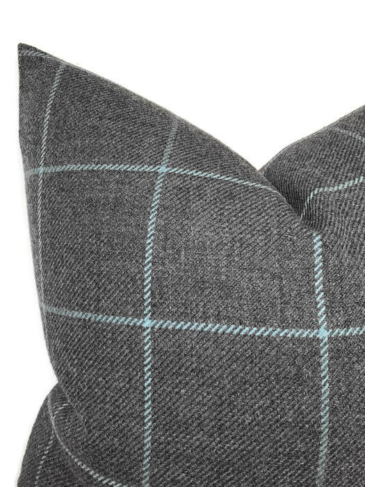 Schumacher Bancroft Wool Pillow Cover in Oxford Grey
