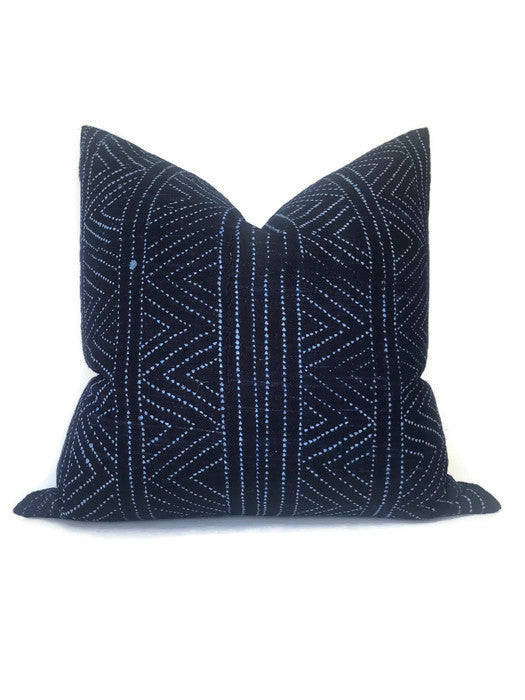 Tribal Batik Pillow Cover in Indigo Blue