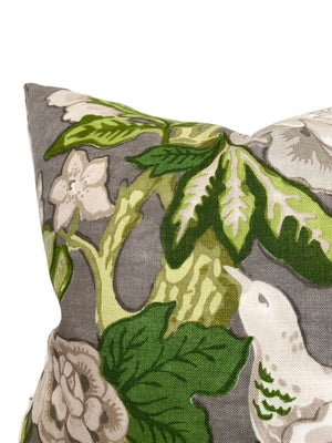 Schumacher Bermuda Blossoms Pillow Cover in Slate