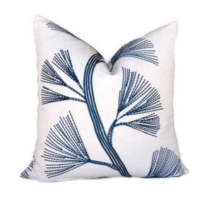 Schumacher Ginkgo Pillow Cover in Marine