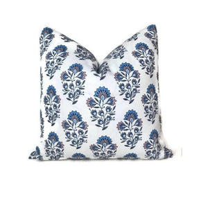 Caitlin Wilson Santorini Block Print Pillow Cover in French Blue and Blush Pink
