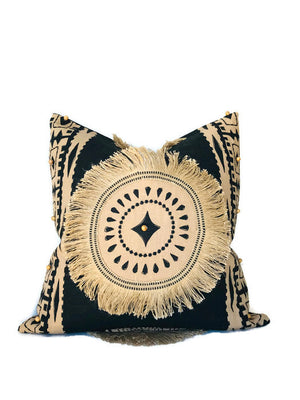 Schumacher Bora Bora Embellished Pillow Cover in Black