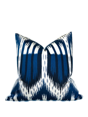 Schumacher Bukhara Ikat Pillow Cover in Indigo Blue