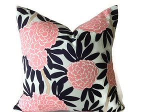 Caitlin Wilson Navy Fleur Chinoise Pillow Cover in Blue and Pink