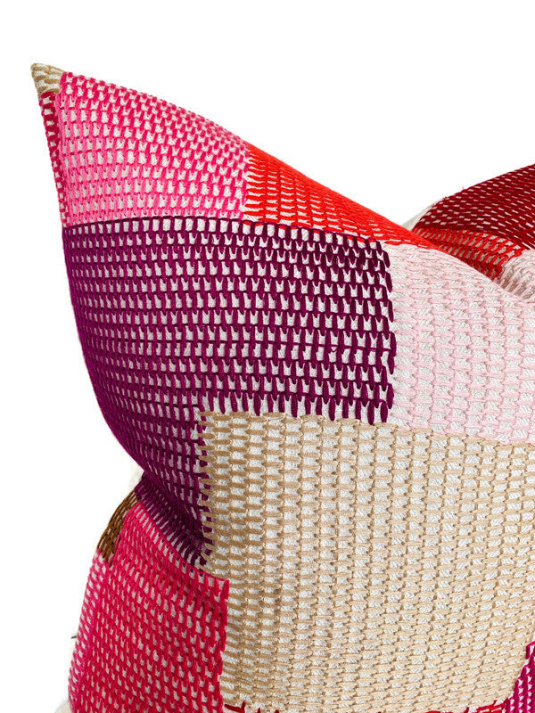 Schumacher Carnaby Embroidered Pillow Cover in Pink and Red
