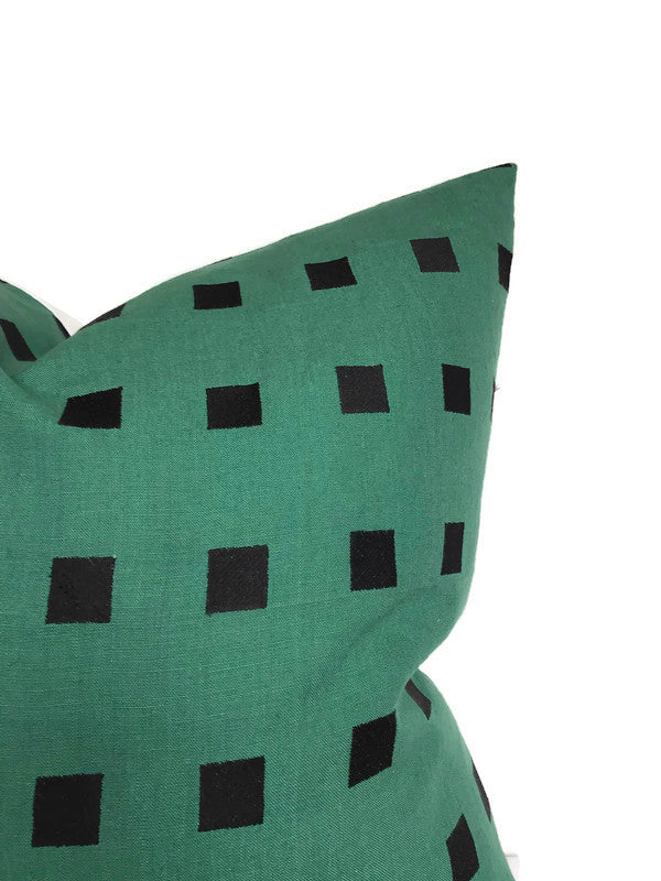 Kelly Wearstler Chalet Embroidered Pillow Cover in Green Black