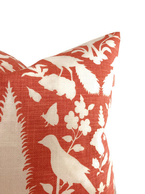 Schumacher Chenonceau Pillow Cover in Coral