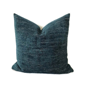 Teal Blue Velvet Chenille Pillow Cover