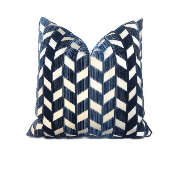 Schumacher Chevron Strie Pillow Cover in Lapis Blue