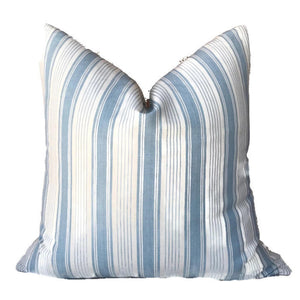 Schumacher Ojai Stripe Pillow Cover in China Blue