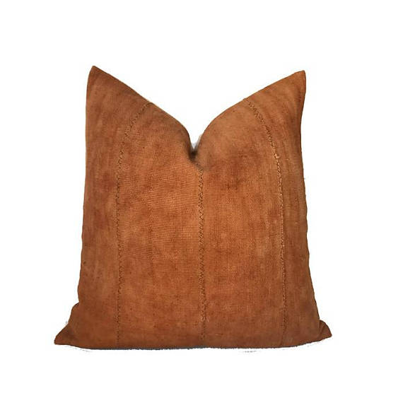 Solid Print Mudcloth Pillow Cover in Copper