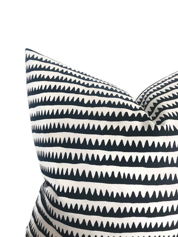 Schumacher Corfu Stripe Pillow Cover in Black