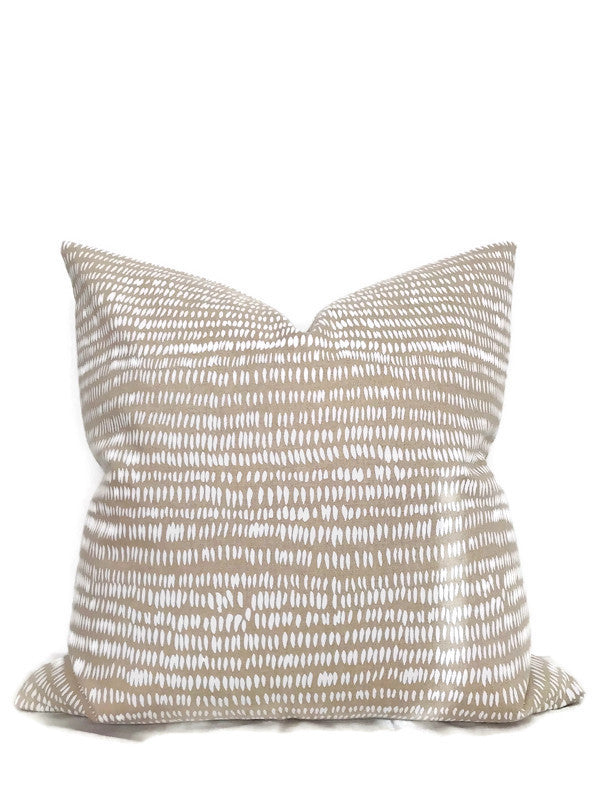 Dashes Pillow Cover in White & Natural