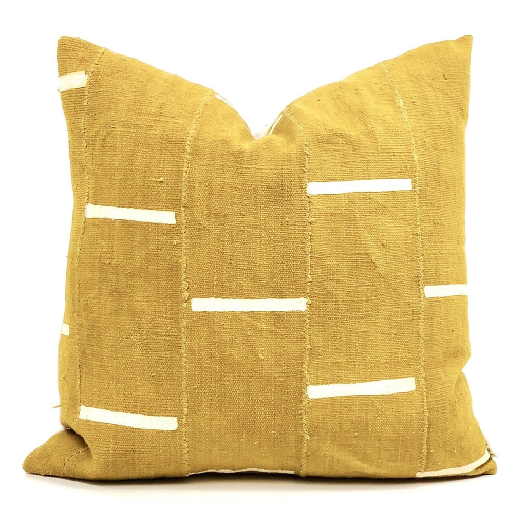 Dashes Print Mudcloth Pillow Cover in Mustard Yellow