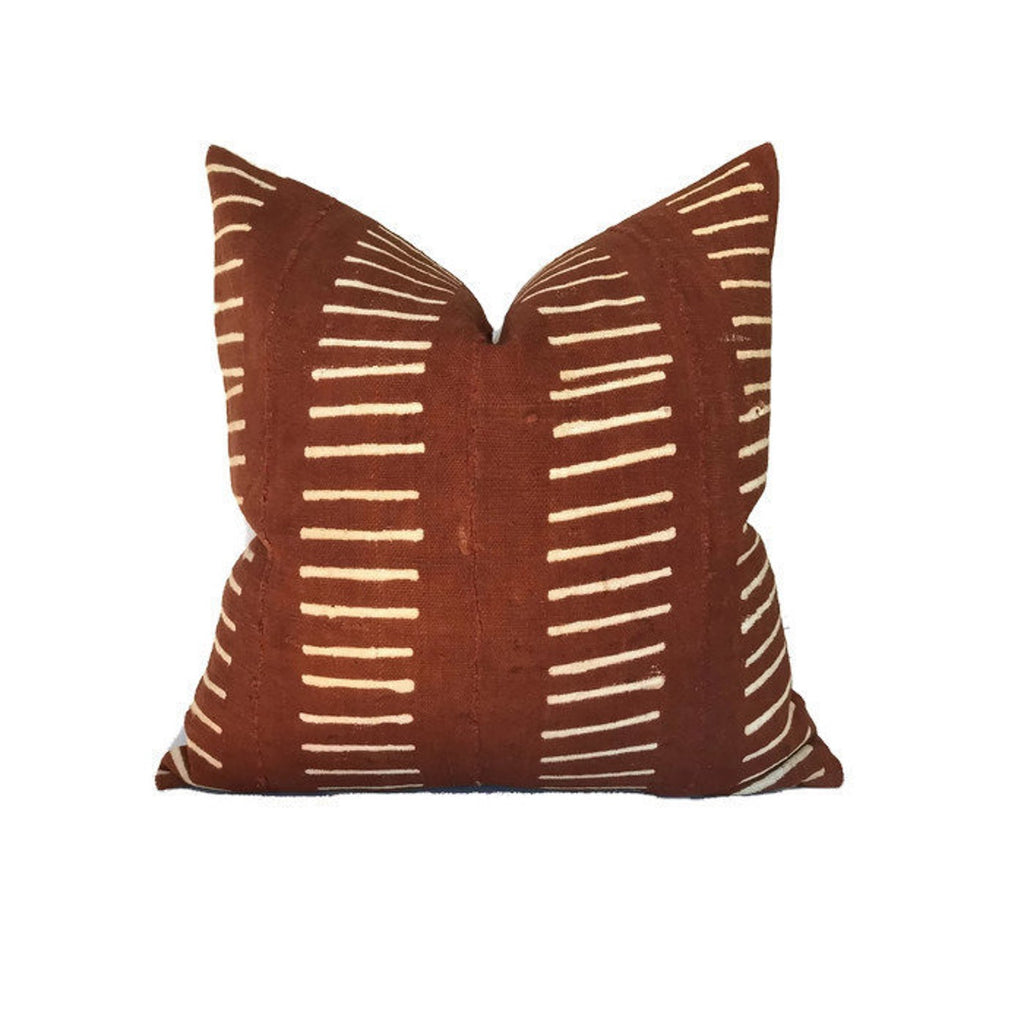 Dashes Print Mudcloth Pillow Cover in Copper