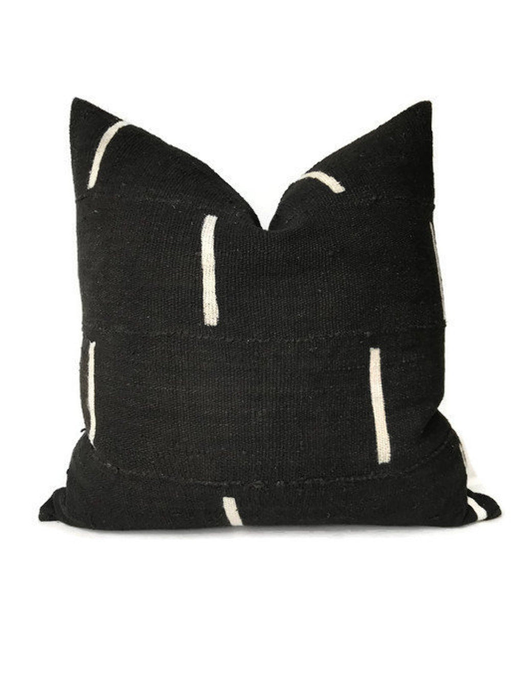Dashes Print Mudcloth Pillow Cover in Black