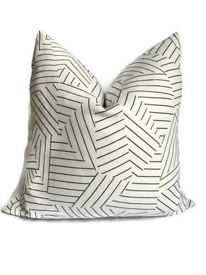 Schumacher Deconstructed Stripe Pillow Cover in Black