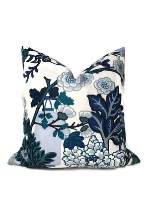 Schumacher Chiang Mai Dragon Pillow Cover in China Blue