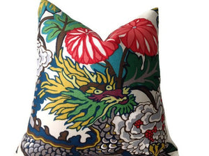 Schumacher Chiang Mai Dragon Pillow Cover in Alabaster