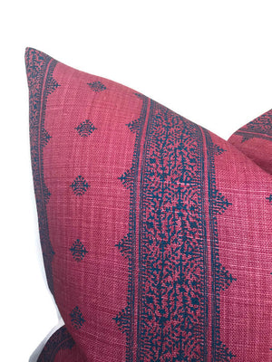 Peter Dunham Fez Pillow Cover in Raspberry and Indigo