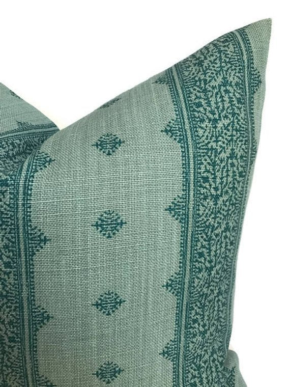 Peter Dunham Fez Pillow Cover in Teal Blue