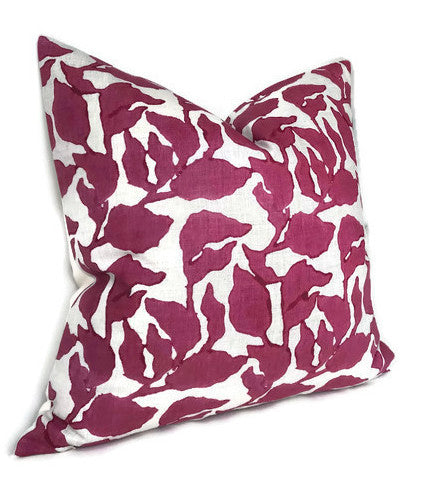 Flores Pillow Cover in Sangria, Walter G Pillows, Decorative Throw Pillows