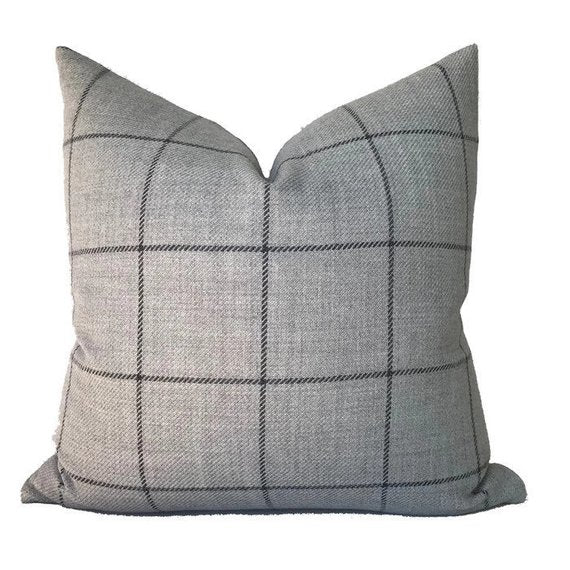 Schumacher Bancroft Wool Pillow Cover in Fog Grey