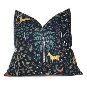 Ready to Ship, 20x20, Forest Animal Pillow Cover in Navy