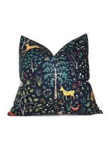 Robert Allen Forest Animal Pillow Cover in Blue