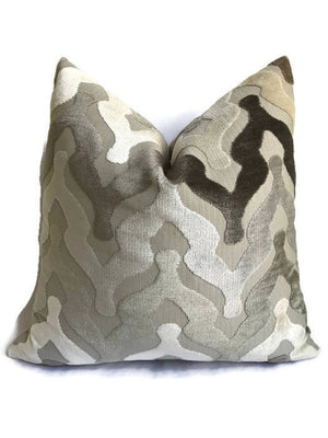 Leicester Chevron Cut Velvet Pillow Cover in Driftwood