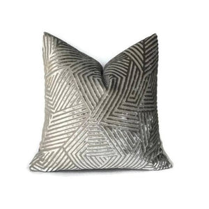 Ready to Ship, 16x16 Grey Maze Velvet Pillow Cover