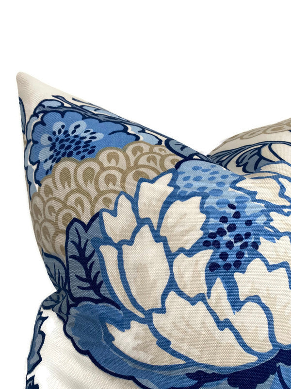 Honshu Pillow Cover in Blue and Beige