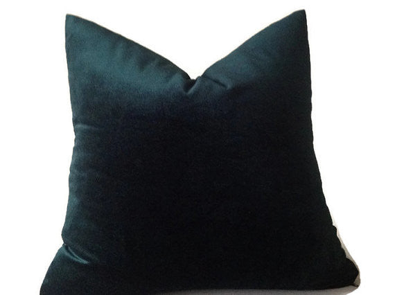 Robert Allen Hunter Green Velvet Pillow Cover
