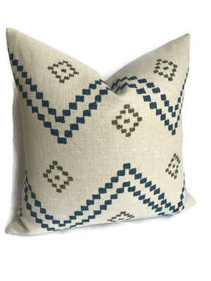 Peter Dunham Textiles Taj Pillow in Indigo Green